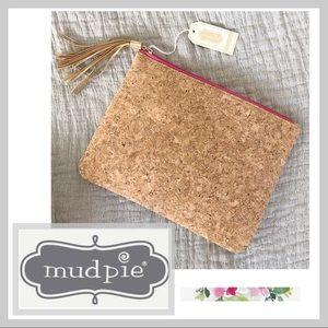 🆕 NWT Mudd Pie Cork Zipper Clutch with Tassel